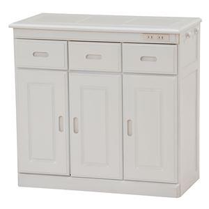 キッチンカウンター(キッチン収納/キッチンボード) 幅72cm 木製 二口コンセント/キャスター付き ホワイト(白)
