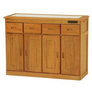キッチンカウンター(キッチン収納/キッチンボード) 幅92cm 木製 二口コンセント/キャスター付き ナチュラル