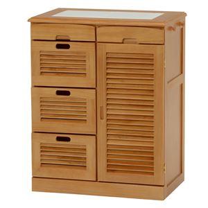 キッチンカウンター(キッチン収納/キッチンボード) 幅57cm 木製 ルーバー扉/タイル天板/キャスター付き ブラウン