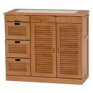 キッチンカウンター(キッチン収納/キッチンボード) 幅82cm 木製 ルーバー扉/タイル天板/キャスター付き ブラウン