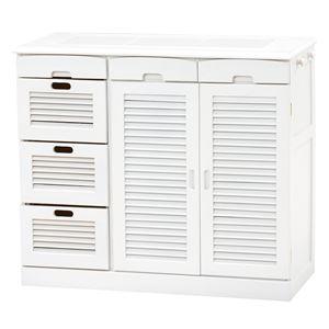 キッチンカウンター(キッチン収納/キッチンボード) 幅82cm 木製 ルーバー扉/タイル天板/キャスター付き ホワイト(白)