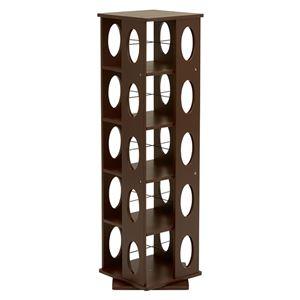 360度回転ラック(本棚/CDラック) ブラウン 高さ120cm 転倒防止ベルト付き