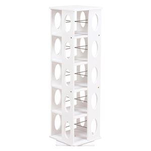 360度回転ラック(本棚/CDラック) ホワイト(白) 高さ120cm 転倒防止ベルト付き