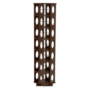 360度回転ラック(本棚/CDラック) ブラウン 高さ167cm 転倒防止ベルト付き