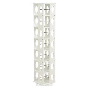 360度回転ラック(本棚/CDラック) ホワイト(白) 高さ167cm 転倒防止ベルト付き