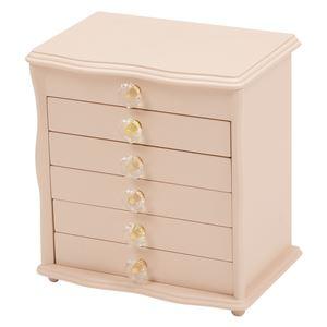 ジュエリーボックス(宝石箱) 6段 幅26cm×奥行16.5cm クリスタル型取っ手付き ピンク  - 拡大画像