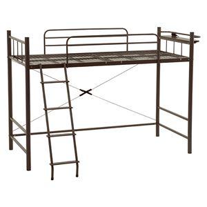 ロフトベッド/システムベッド 【ミドルタイプ 床面高120cm】 ダークブラウン シングルサイズ スチール 二口コンセント/階段/宮付き - 拡大画像