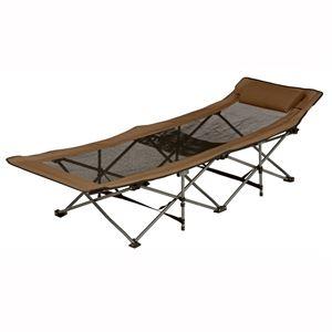 折りたたみベッド/アウトドアベッド 【シングルサイズ】 スチール製/メッシュ素材 枕/収納袋付き LOB-4609BR ブラウン  - 拡大画像