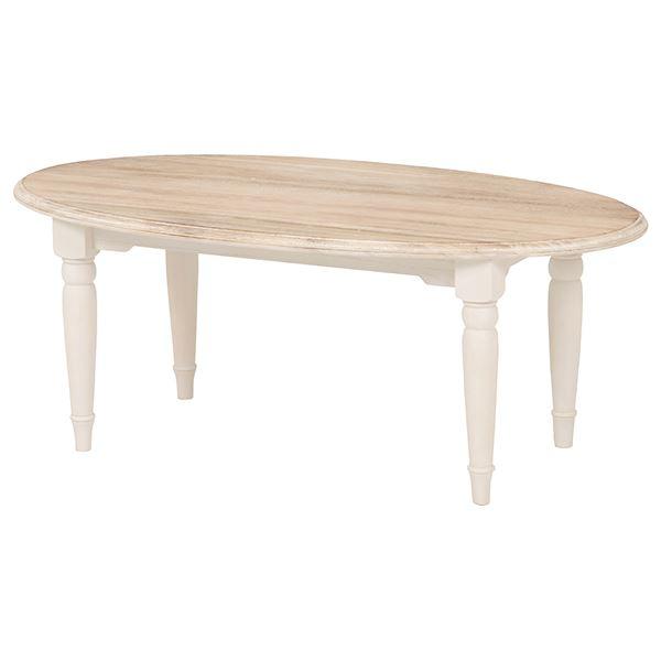 センターテーブル/ローテーブル 【楕円形】 幅90cm 『ブロカントシリーズ』 木製 シャビーシック ホワイト(白) f00