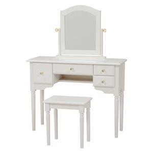 ドレッサーセット(化粧台・スツールセット) 木製 鏡/クリスタル調取っ手付き ホワイト(白)