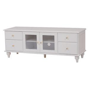 シンプルテレビ台(テレビボード/ローボード) 木製 【幅120cm/37型〜52型対応】 クリスタル調取っ手付き ホワイト(白)