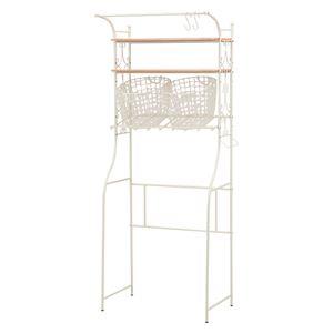 洗濯機ラック/ランドリーラック 【幅75cm】 スチールフレーム 高さ3段階調節可 収納カゴ付き ホワイト(白)  - 拡大画像