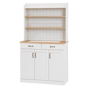 キッチンカウンター/キッチン収納 【幅87cm】 木製 棚/高さ調節可 カントリー調 ナチュラルアイボリー
