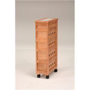 ストッカー(キッチンワゴン/キッチン収納) 幅20cm スリム 木製 キャスター付き タイル天板(ナチュラル)  h03