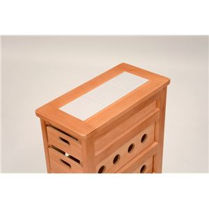 ストッカー(キッチンワゴン/キッチン収納) 幅20cm スリム 木製 キャスター付き タイル天板(ナチュラル)  f04