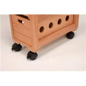 ストッカー(キッチンワゴン/キッチン収納) 幅20cm スリム 木製 キャスター付き タイル天板(ナチュラル)  f05
