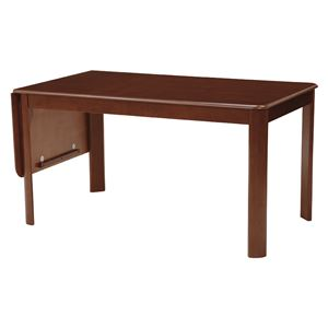 伸長式ダイニングテーブル/バタフライテーブル 【長方形/ダークブラウン】 幅138/180cm 木製 丸角