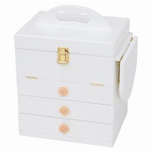 コスメボックス/メイクボックス 【ホワイト】 大容量 幅26cm 持ち手/ミニテーブル/三面鏡付き  - 拡大画像