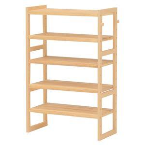 シンプルシューズラック/下駄箱 【幅60cm×高さ92cm】 ナチュラル 木製/パイン 高さ調節可 フック2個付き