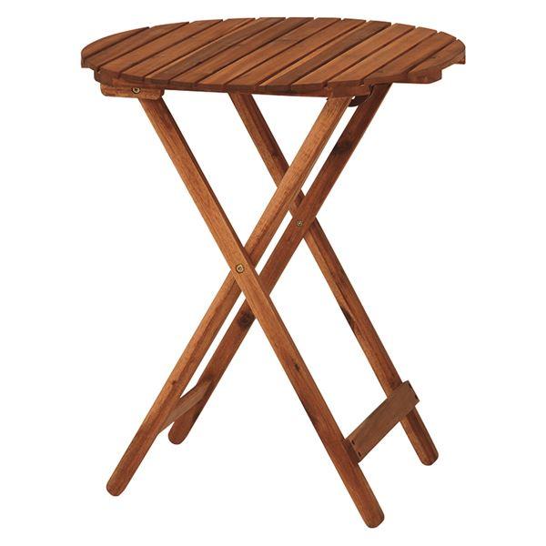 木製ガーデンテーブル/アウトドアテーブル 【円形/幅60cm】 折りたたみ式 木目調