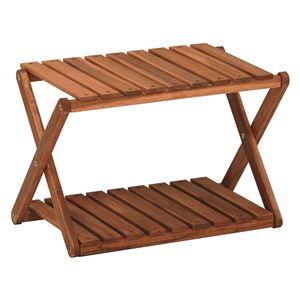 木製ラック/ディスプレイラック 【2段/高さ31cm】 折りたたみ可 アカシア材使用