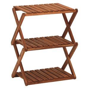 木製ラック/ディスプレイラック 【3段/高さ57.5cm】 折りたたみ可 アカシア材使用