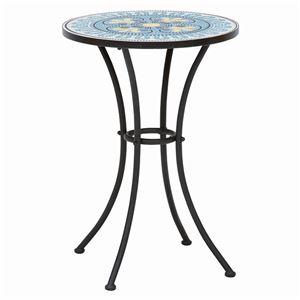 ガーデンテーブル/アウトドアテーブル 【円形/直径51cm】 ヨーロピアン調 スチールフレーム  - 拡大画像