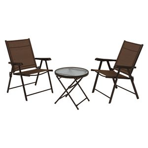 ガーデンテーブル・ガーデンチェアセット 【3点セット】 折りたたみ式 テーブル:強化ガラス天板