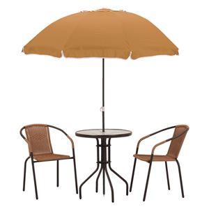 ガーデンパラソルセット 【4点セット/テーブル×1・パラソル×1・チェアー×2】 テーブル:強化ガラス天板