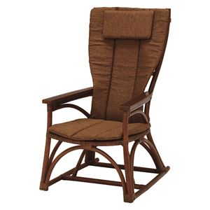 アームチェア/籐椅子 肘付き ハイバック仕様 座面高36.5cm ブラウン  - 拡大画像