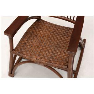 アームチェア/籐椅子 肘付き ハイバック仕様 座面高36.5cm ブラウン