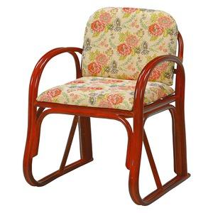 楽々座椅子/パーソナルチェア 【座面高43cm】 肘付き 籐製 座面:ジャガード織り生地使用  - 拡大画像
