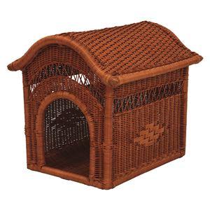 籐製ペットハウス 幅45cm×奥行54cm×高さ49cm 〔ペット用品 犬用品 猫用品〕  - 拡大画像