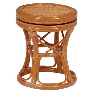 回転スツール(籐椅子/丸椅子) 木製 直径24cm×高さ37cm  - 拡大画像