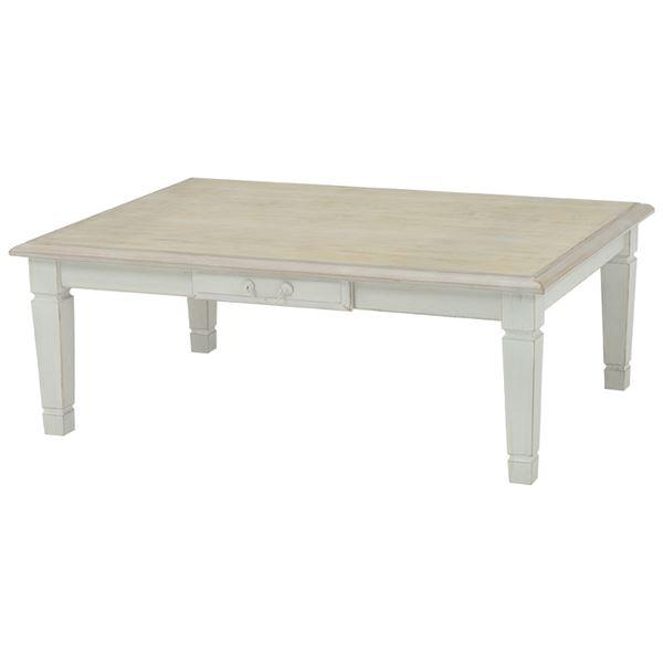 アンティーク調リビングこたつテーブル 本体 【長方形/幅105cm】 木製 引き出し付き シャビーシック f00