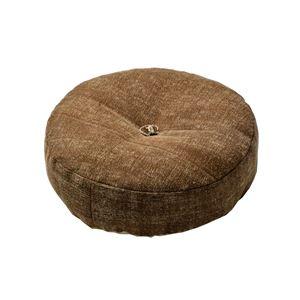 インド綿 フロアラウンドクッション 【ブラウン】 45R×12cm 円形 綿100%カバー 〔リビング ベッドルーム〕 - 拡大画像