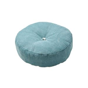 インド綿 フロアラウンドクッション 【ライトブルー】 45R×12cm 円形 綿100%カバー 〔リビング ベッドルーム〕 - 拡大画像