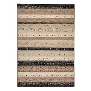 ギャッベ風 ラグマット/絨毯 【200cm×250cm ブラック】 長方形 ウィルトン 高耐久 『インフィニティ レーヴ』 - 拡大画像