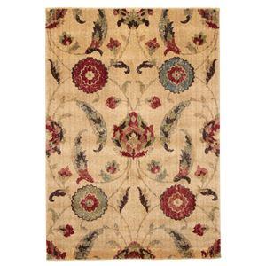 花柄 ラグマット/絨毯 【80cm×150cm ベージュ】 長方形 高耐久 ウィルトン フラワー 『AURA オーラ』 〔リビング〕 - 拡大画像