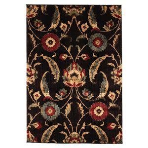 花柄 ラグマット/絨毯 【80cm×150cm ブラック】 長方形 高耐久 ウィルトン フラワー 『AURA オーラ』 〔リビング〕 - 拡大画像