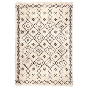 民族調 ラグマット/絨毯 【160cm×230cm アイボリー】 長方形 ウィルトン 『ROYAL NOMADIC ロイヤルノマディック モロッコ』 - 拡大画像