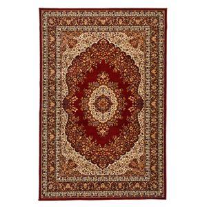 クラシック調 ラグマット/絨毯 【240cm×240cm レッド】 正方形 洗える 折りたたみ ウィルトン 『シャハリヤ』 - 拡大画像