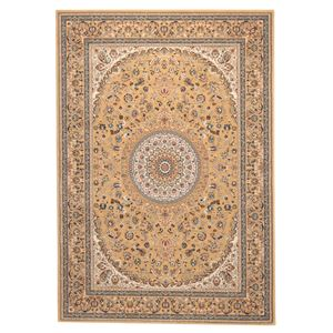 ウィルトン織 ラグマット/絨毯 【240cm×240cm ベージュ】 正方形 トルコ製 高耐久 『ローサマルカンド』 〔リビング〕 - 拡大画像