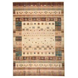 ギャッベ風 ラグマット/絨毯 【195cm×195cm ベージュ】 正方形 ベルギー製 綿混 防キズ仕様 プレジール 『ロイヤルパレス』 - 拡大画像