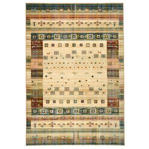 ギャッベ風 ラグマット/絨毯 【195cm×250cm グリーン】 長方形 ベルギー製 綿混 防キズ仕様 プレジール 『ロイヤルパレス』 - 拡大画像