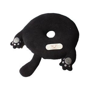 猫型 円座クッション/座布団 【やさぐれ次郎】 ブラック 43R 『ブーネコ』 〔リビング ダイニング〕 - 拡大画像