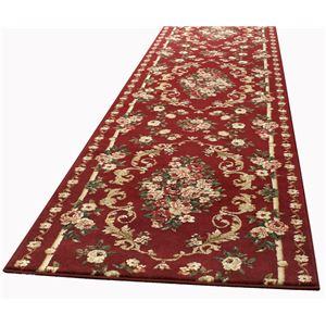 トルコ製 ラグマット/絨毯 【80cm×340cm レッド】 長方形 ウィルトン 『ロゼ』 〔リビング ダイニング 寝室〕
