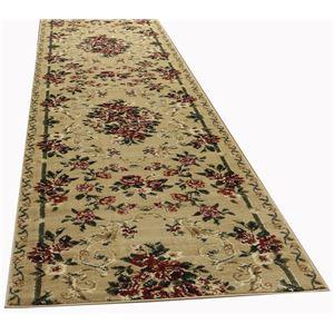トルコ製 ラグマット/絨毯 【80cm×340cm ベージュ】 長方形 ウィルトン 『ロゼ』 〔リビング ダイニング 寝室〕