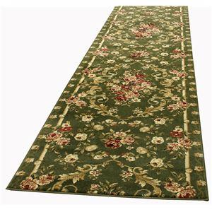 トルコ製 ラグマット/絨毯 【80cm×440cm グリーン】 長方形 ウィルトン 『ロゼ』 〔リビング ダイニング 寝室〕