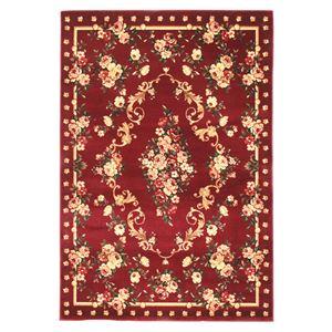 トルコ製 ラグマット/絨毯 【130cm×190cm レッド】 長方形 高耐久 ウィルトン 『ロゼ』 〔リビング ダイニング〕